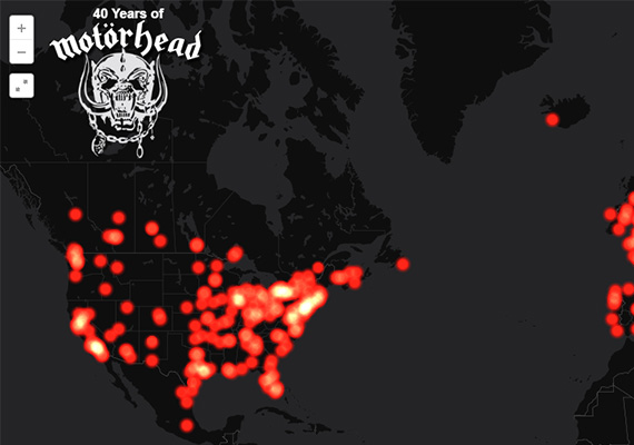 This time series map depicts 40 years of concerts by the band Mot&ouml;rhead. It is built with <a href='http://www.cartodb.com' target='_blank'>CartoDB</a>. Read more about the map in my blog post <a href='http://wesmapping.com/blog/watch-motorhead-invade-the-planet-1975-2015/' target='_blank'>here</a>.